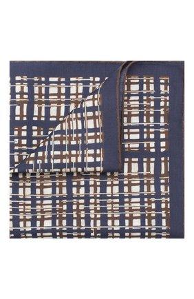 Мужской платок из хлопка и шелка ERMENEGILDO ZEGNA синего цвета, арт. Z7J16/38B | Фото 1