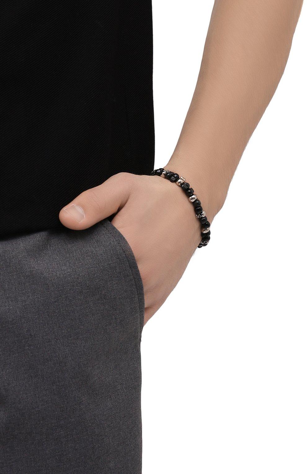 Мужской браслет ALEXANDER MCQUEEN черного цвета, арт. 563251/I11DY | Фото 2 (Материал: Металл)