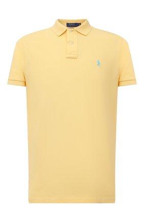 Мужское хлопковое поло POLO RALPH LAUREN желтого цвета, арт. 710782592 | Фото 1