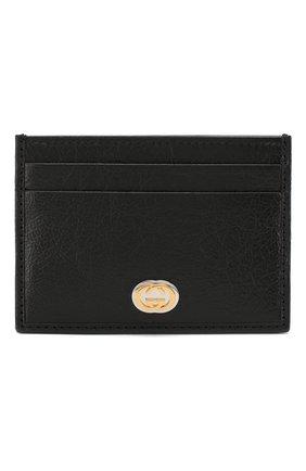 Мужской кожаный футляр для кредитных карт GUCCI черного цвета, арт. 581528/1GZ0X | Фото 1