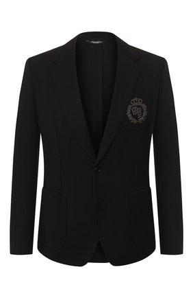 Мужской хлопковый пиджак DOLCE & GABBANA черного цвета, арт. G2NW6Z/FUGJM   Фото 1