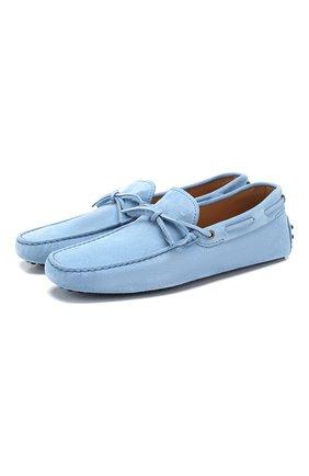 Мужские замшевые мокасины gommino driver TOD'S голубого цвета, арт. XXM0GW05470RE0 | Фото 1