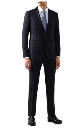 Мужская хлопковая сорочка BRIONI голубого цвета, арт. RCL41F/P7001 | Фото 2 (Мужское Кросс-КТ: Сорочка-одежда; Рукава: Длинные; Длина (для топов): Стандартные; Материал внешний: Хлопок; Принт: Однотонные; Случай: Формальный; Манжеты: На пуговицах; Воротник: Акула)