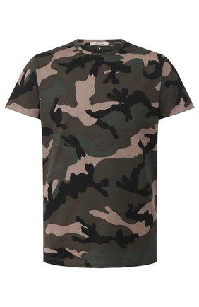 Мужская хлопковая футболка VALENTINO хаки цвета, арт. TV3MG00W3M0 | Фото 1