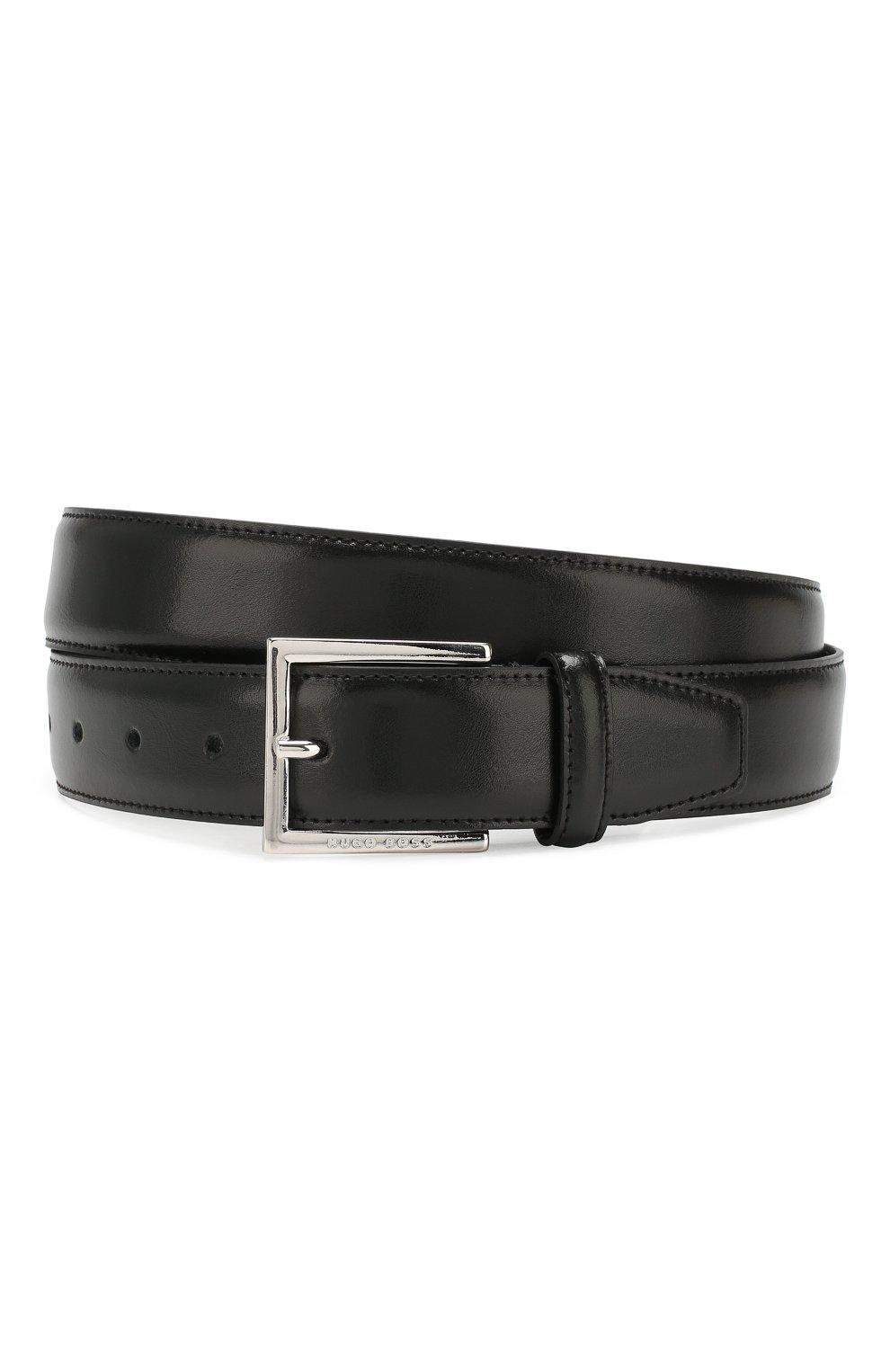 Мужской кожаный ремень BOSS черного цвета, арт. 50424605 | Фото 1