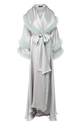 Женский шелковый халат DOLCE & GABBANA голубого цвета, арт. F0Y81Z/FU1NU | Фото 1