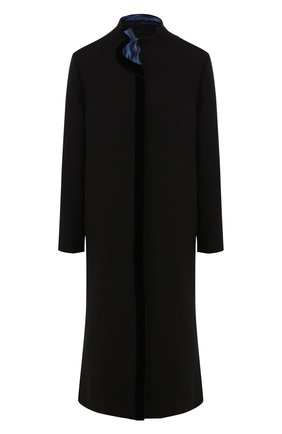 Женское шелковое пальто GIORGIO ARMANI черного цвета, арт. 9WH0L03N/T01D2 | Фото 1 (Рукава: Длинные; Материал внешний: Шелк; Длина (верхняя одежда): Длинные; Статус проверки: Проверена категория; 1-2-бортные: Однобортные)