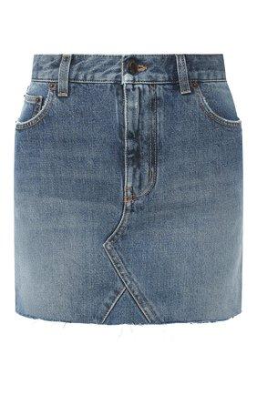 Женская джинсовая юбка SAINT LAURENT темно-синего цвета, арт. 602944/Y8070 | Фото 1