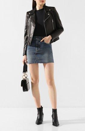 Женская джинсовая юбка SAINT LAURENT темно-синего цвета, арт. 602944/Y8070 | Фото 2