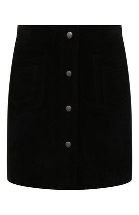 Женская замшевая юбка SAINT LAURENT черного цвета, арт. 602763/YC2AY | Фото 1