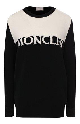 Женская пуловер из смеси шерсти и кашемира MONCLER черно-белого цвета, арт. F1-093-9C702-00-A9315 | Фото 1
