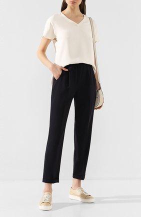 Женские шерстяные брюки KITON темно-синего цвета, арт. D37102K05I22 | Фото 2