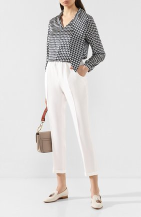 Женские шелковые брюки KITON белого цвета, арт. D37102K09S67 | Фото 2