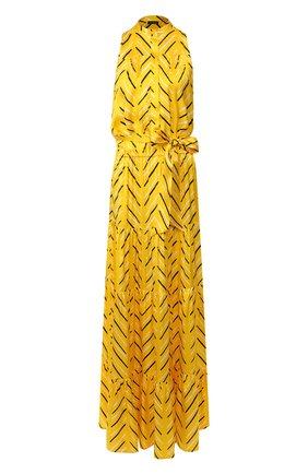 Женское шелковое платье KITON желтого цвета, арт. D49325K09S77 | Фото 1