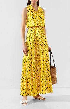 Женское шелковое платье KITON желтого цвета, арт. D49325K09S77 | Фото 2