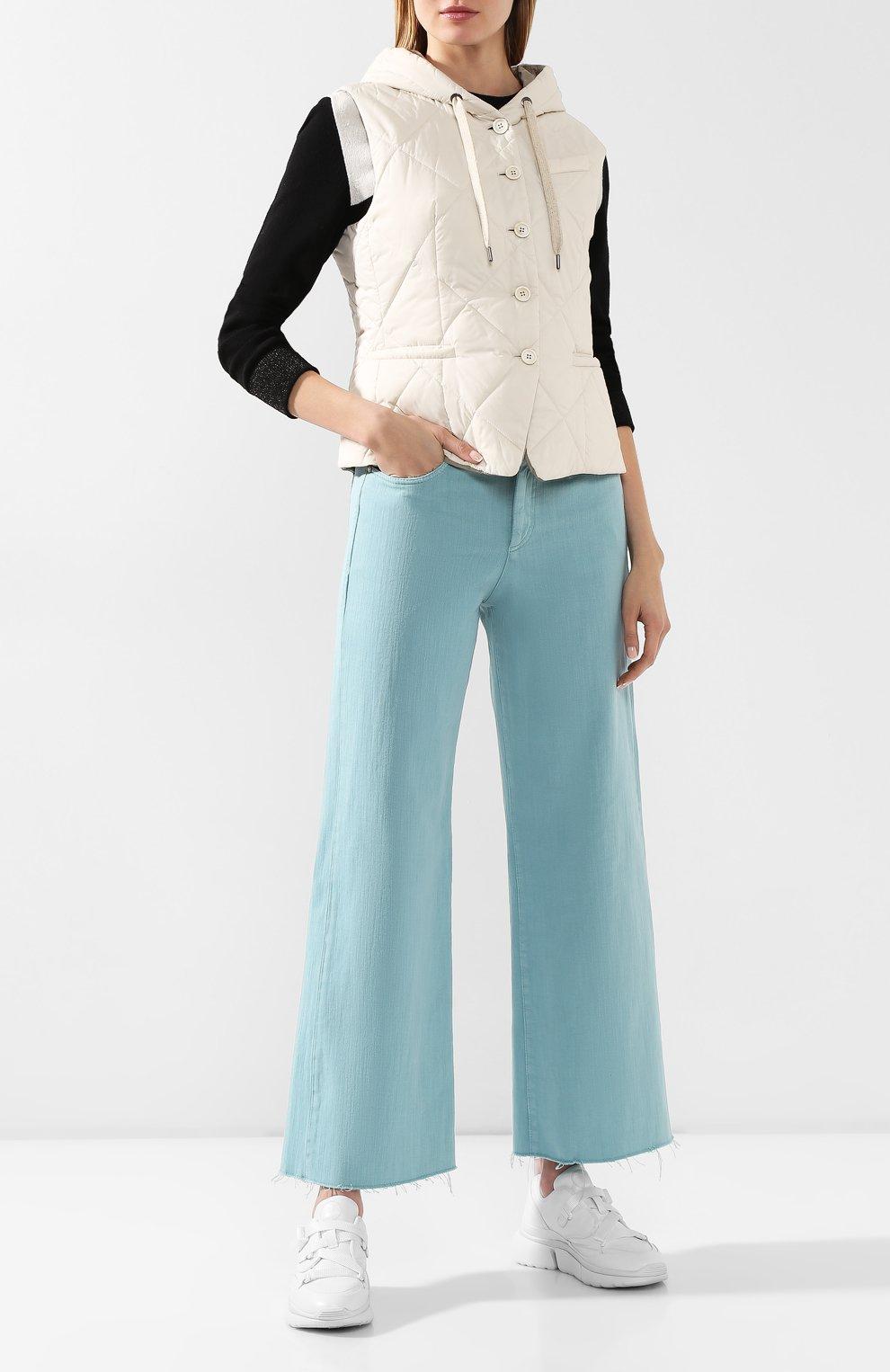 Женские джинсы BRUNELLO CUCINELLI бирюзового цвета, арт. M293PP5529 | Фото 2