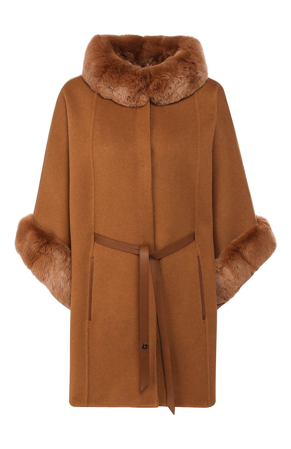 Женская пончо из смеси кашемира и шерсти LORO PIANA светло-коричневого цвета, арт. FAG3847/VVIC   Фото 1