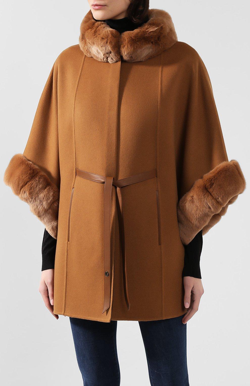 Женская пончо из смеси кашемира и шерсти LORO PIANA светло-коричневого цвета, арт. FAG3847/VVIC   Фото 3