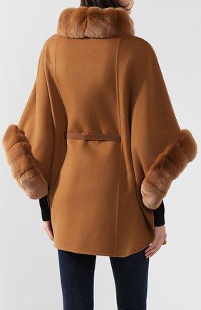 Женская пончо из смеси кашемира и шерсти LORO PIANA светло-коричневого цвета, арт. FAG3847/VVIC   Фото 4
