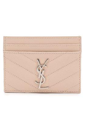 Женский кожаный футляр для кредитных карт SAINT LAURENT бежевого цвета, арт. 423291/B0W02 | Фото 1