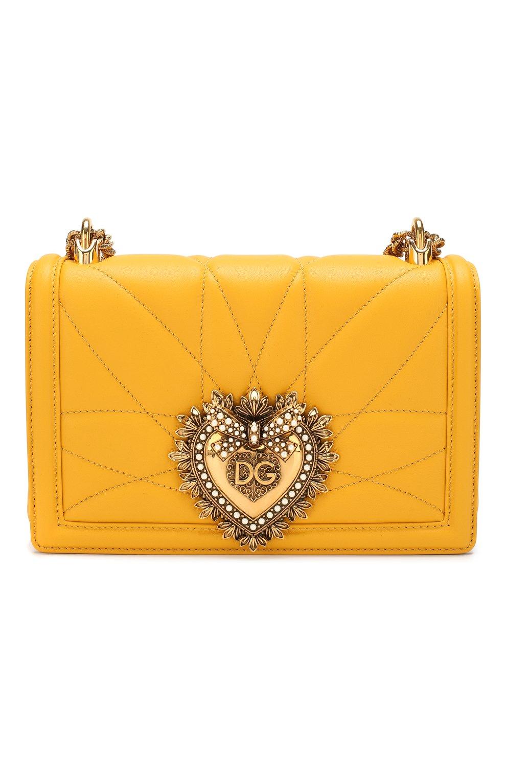 Женская сумка devotion small DOLCE & GABBANA желтого цвета, арт. BB6652/AV967   Фото 1