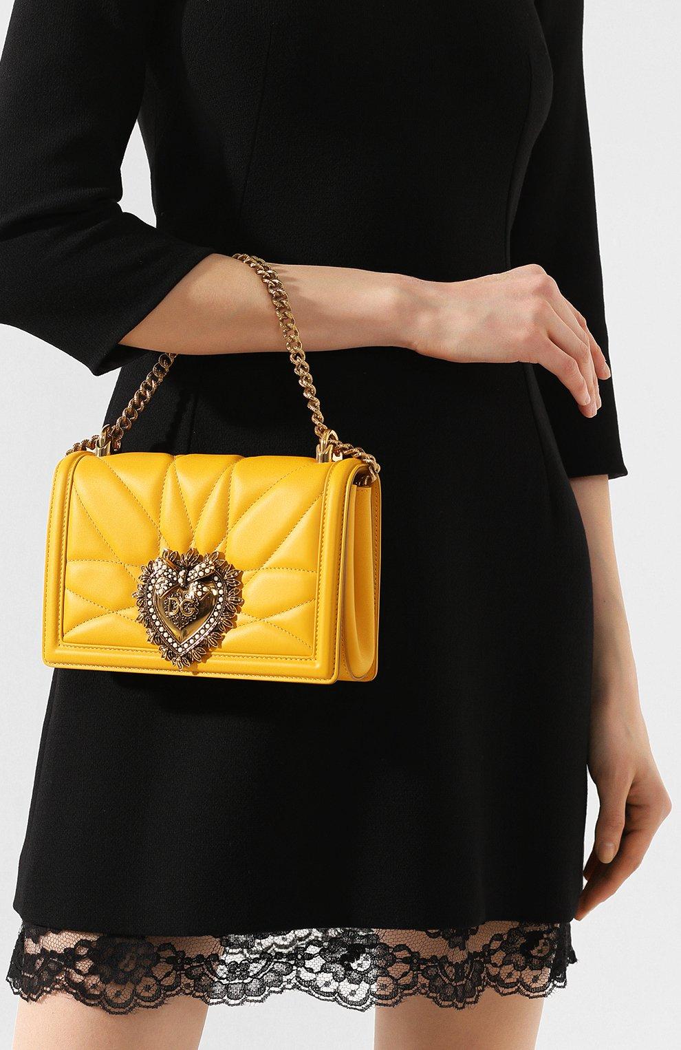 Женская сумка devotion small DOLCE & GABBANA желтого цвета, арт. BB6652/AV967   Фото 2