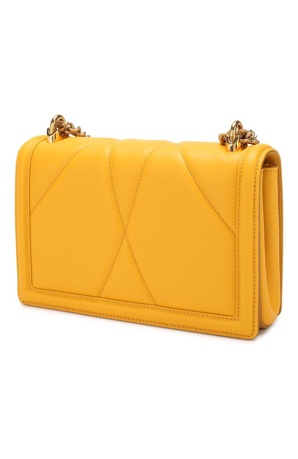 Женская сумка devotion small DOLCE & GABBANA желтого цвета, арт. BB6652/AV967   Фото 3