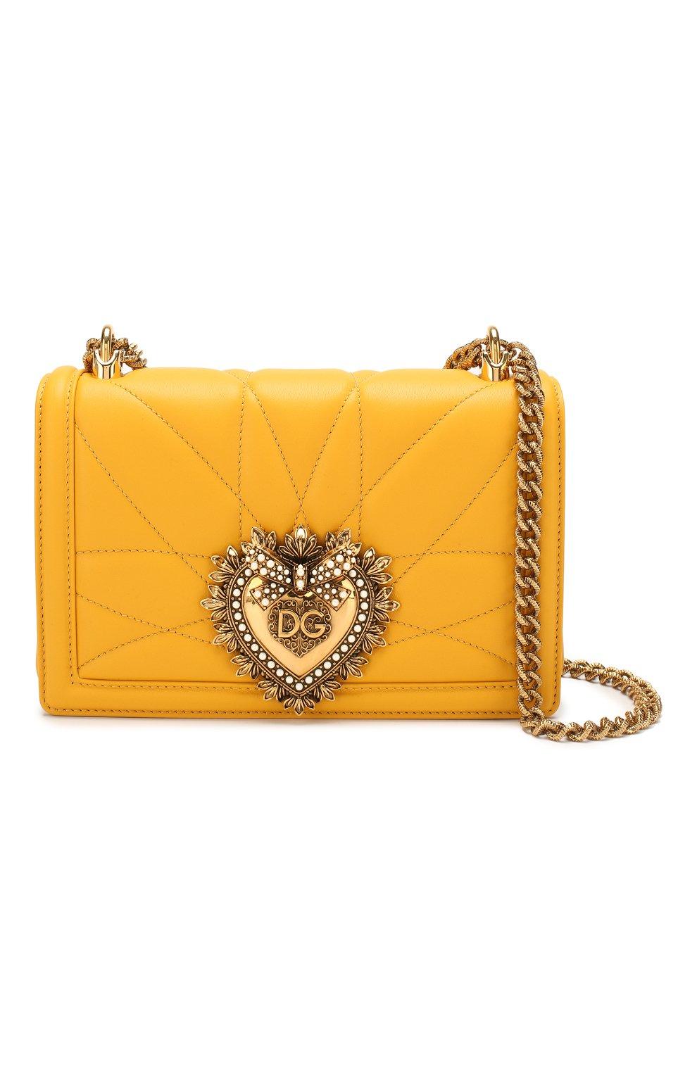 Женская сумка devotion small DOLCE & GABBANA желтого цвета, арт. BB6652/AV967   Фото 5