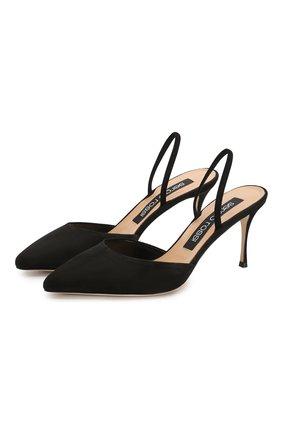 Женская замшевые туфли godiva SERGIO ROSSI черного цвета, арт. A73273-MCAZ01 | Фото 1