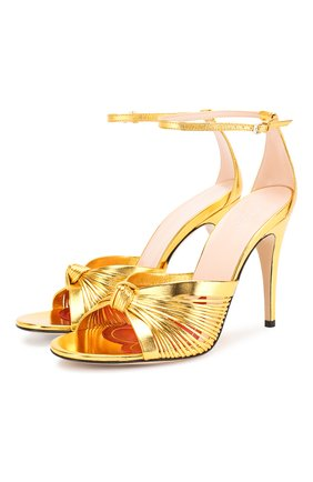 Женские кожаные босоножки crawford GUCCI золотого цвета, арт. 577225/B8B00 | Фото 1