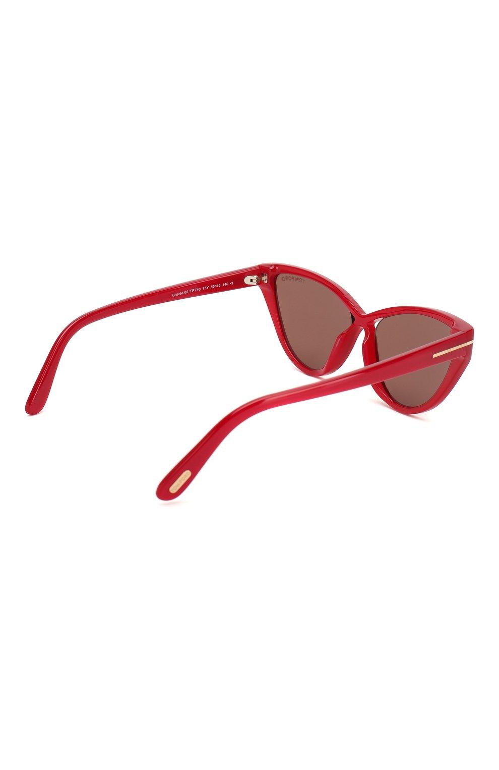 Женские солнцезащитные очки TOM FORD красного цвета, арт. TF740 | Фото 4