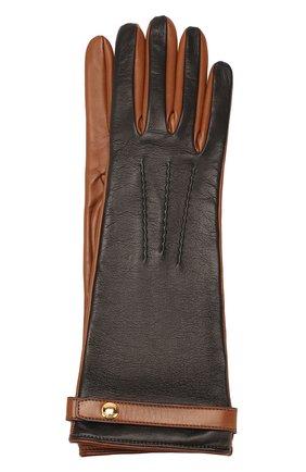 Женские кожаные перчатки BURBERRY коричневого цвета, арт. 8020462 | Фото 1
