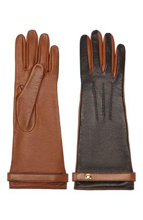 Женские кожаные перчатки BURBERRY коричневого цвета, арт. 8020462 | Фото 2