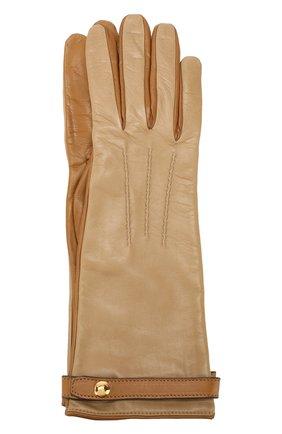 Женские кожаные перчатки BURBERRY бежевого цвета, арт. 8020457 | Фото 1