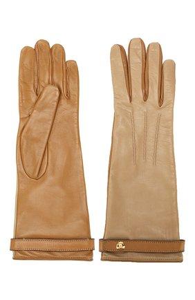 Женские кожаные перчатки BURBERRY бежевого цвета, арт. 8020457 | Фото 2