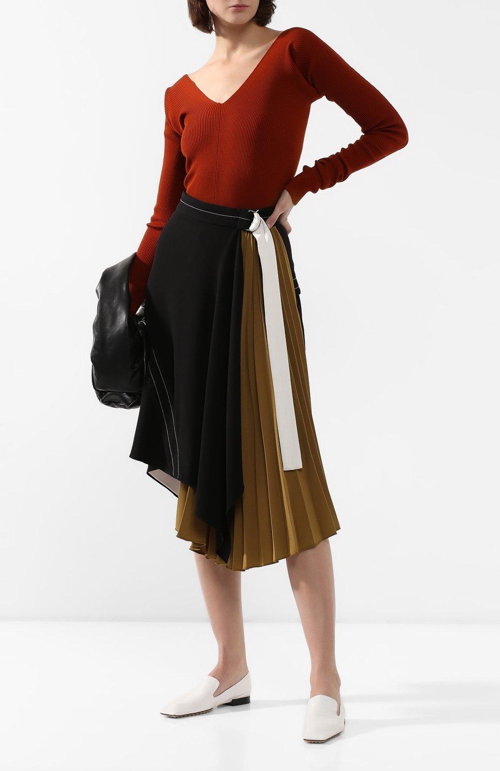 Женские кожаные лоферы BOTTEGA VENETA белого цвета, арт. 608878/VBSH0 | Фото 2
