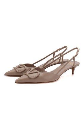 Женская кожаные туфли valentino garavani vlogo VALENTINO бежевого цвета, арт. TW2S0Q70/MZF | Фото 1