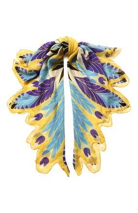 Женская шелковая шаль valentino garavani VALENTINO голубого цвета, арт. TW2EB104/IZG   Фото 1