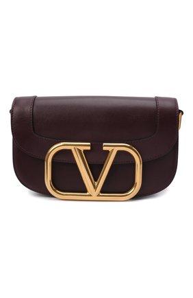 Женская сумка supervee VALENTINO бордового цвета, арт. TW2B0G09/ZXL | Фото 1 (Материал: Натуральная кожа; Ремень/цепочка: На ремешке; Сумки-технические: Сумки через плечо; Размер: medium)