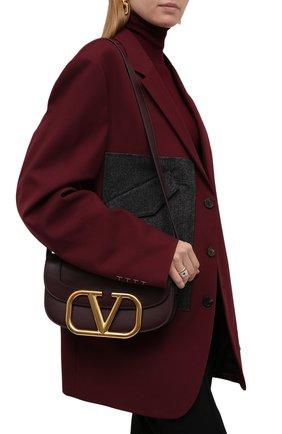 Женская сумка supervee VALENTINO бордового цвета, арт. TW2B0G09/ZXL | Фото 2 (Материал: Натуральная кожа; Ремень/цепочка: На ремешке; Сумки-технические: Сумки через плечо; Размер: medium)
