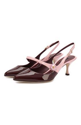 Женская кожаные туфли lori DOLCE & GABBANA бордового цвета, арт. CG0380/AJ702 | Фото 1