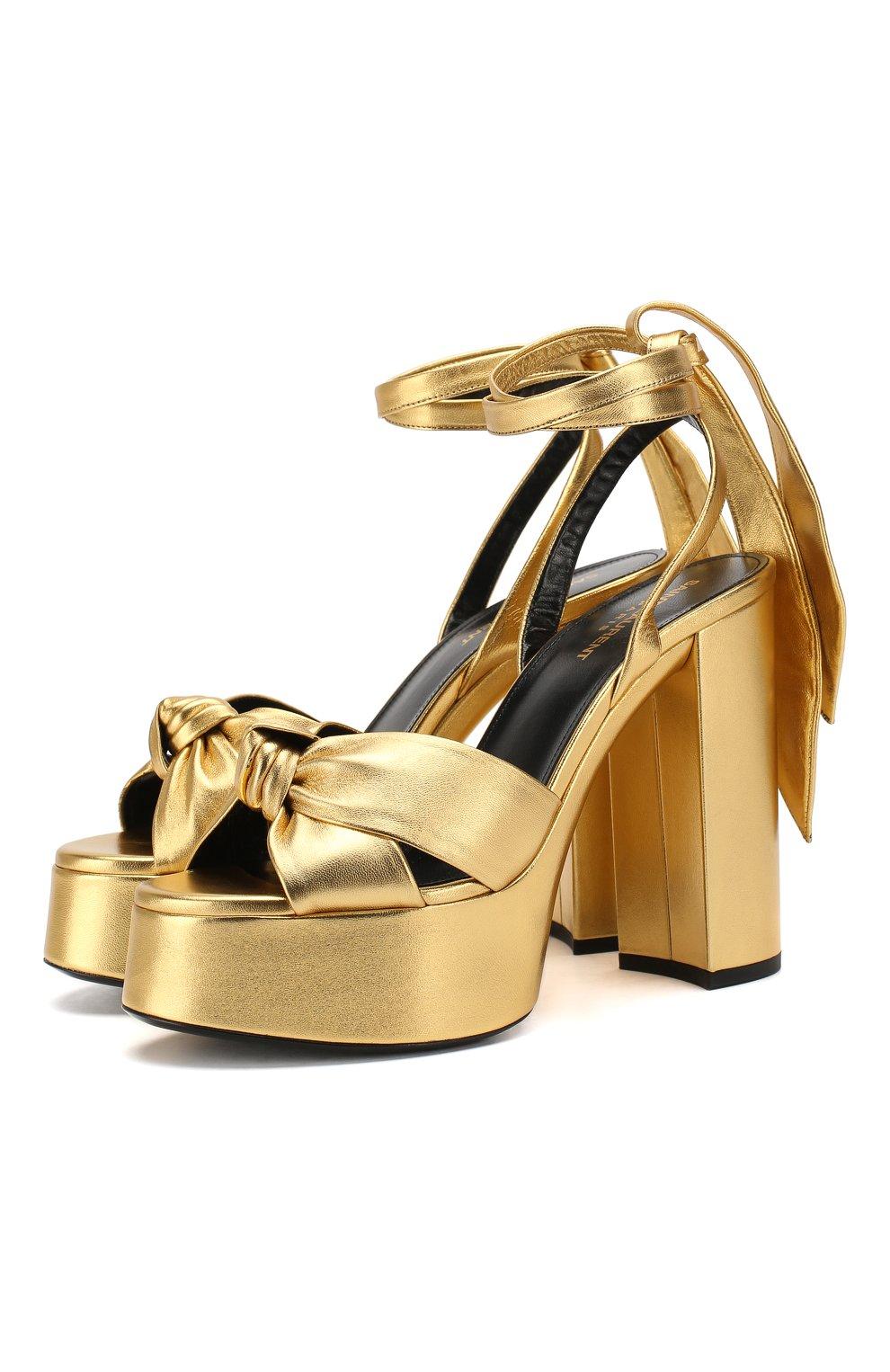 Женские кожаные босоножки bianca SAINT LAURENT золотого цвета, арт. 606716/0XQ00   Фото 1