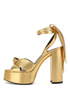 Женские кожаные босоножки bianca SAINT LAURENT золотого цвета, арт. 606716/0XQ00   Фото 3