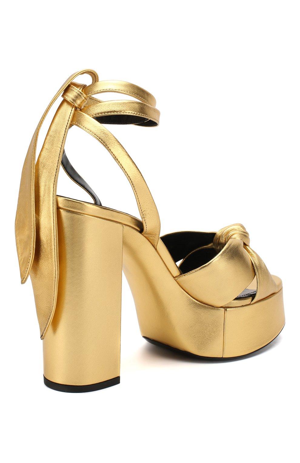 Женские кожаные босоножки bianca SAINT LAURENT золотого цвета, арт. 606716/0XQ00   Фото 4