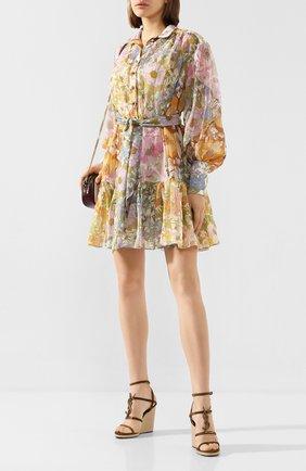 Женские замшевые босоножки espadrille SAINT LAURENT светло-коричневого цвета, арт. 606766/0LITT | Фото 2