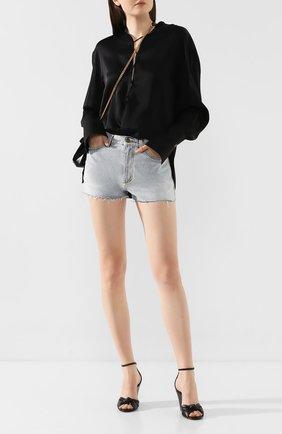 Женские кожаные босоножки lila SAINT LAURENT черного цвета, арт. 612250/1N800 | Фото 2