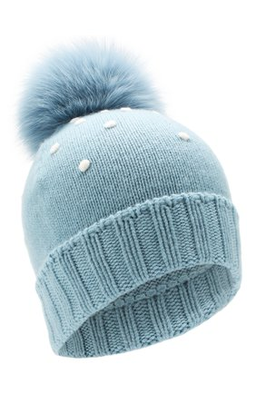 Женский кашемировая шапка snowy land LORO PIANA голубого цвета, арт. FAL0950 | Фото 1