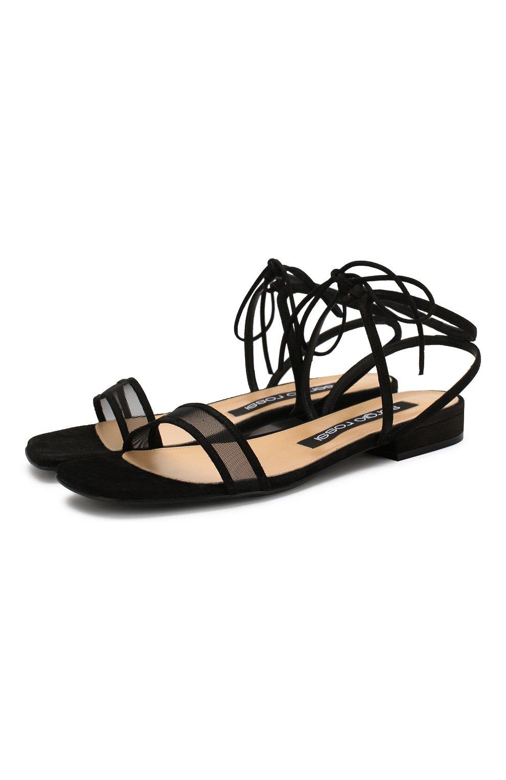 Женские замшевые сандалии SERGIO ROSSI черного цвета, арт. A88410-MAFM46   Фото 1