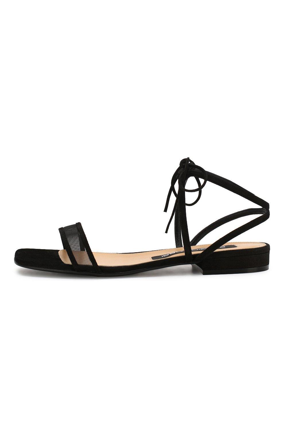 Женские замшевые сандалии SERGIO ROSSI черного цвета, арт. A88410-MAFM46   Фото 3