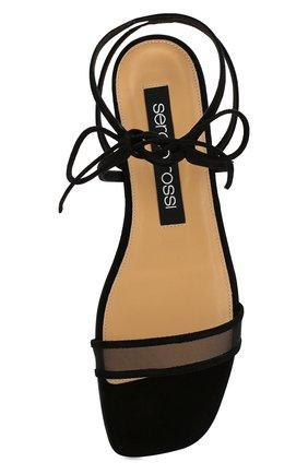 Женские замшевые сандалии SERGIO ROSSI черного цвета, арт. A88410-MAFM46   Фото 5